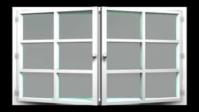 animering 3D av ett vitt fönster med den glass främre sikten som öppnar och stänger sig Denna följd kan användas som en övergångs lager videofilmer