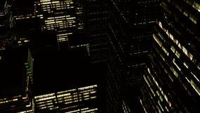 animering 3D av skyskrapor på natten lager videofilmer