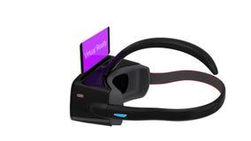 animering 3D av VR-hörlurar med mikrofon royaltyfri illustrationer