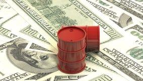 animering 3d: Röda fat ligger på bakgrunden av dollarpengar Oljaaffär, svart guld, bensinproduktion Purch