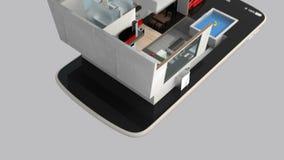 Animering 3DCG av det smarta huset på den smarta telefonen royaltyfri illustrationer
