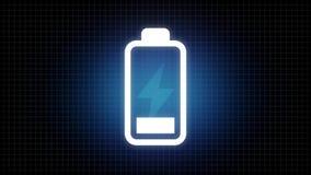Animering för ögla för batterisymbol laddande stock video