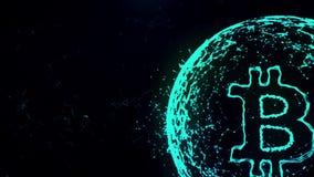 Animering för abstrakt begrepp för Bitcoin valutatecken i digital cyberspace på svart bakgrund stock illustrationer