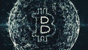 Animering för abstrakt begrepp för Bitcoin valutatecken i digital cyberspace på svart bakgrund royaltyfri illustrationer