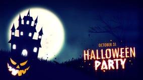 Animering för allhelgonaaftonpartiinbjudan av ett spöklikt spökat hus med Stålar-nolla-lykta allhelgonaaftonpumpor vektor illustrationer