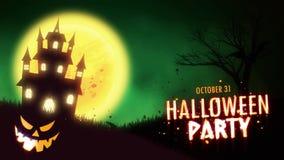 Animering för allhelgonaaftonpartiinbjudan av ett spöklikt spökat hus med Stålar-nolla-lykta allhelgonaaftonpumpor royaltyfri illustrationer