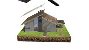 animering för byggnad för hus 3D royaltyfri illustrationer