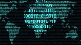 Animering för diagram för cyberspace för internet för nummer för kod för Digital binär datordata stock video