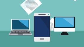 Animering för elektroniska apparater och för ark HD stock illustrationer