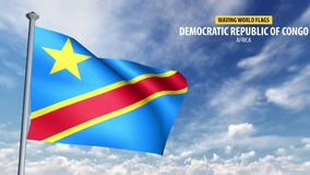 animering för flagga 3D av demokratiska Republiken Kongo