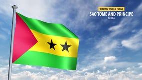 animering för flagga 3D av São Tomé och Príncipe