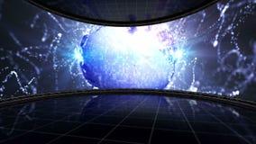 Animering för jorddiskoboll i bildskärmen, dansrum, tolkning, bakgrund, ögla stock video
