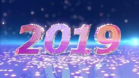 Animering 2019 för nytt år royaltyfri illustrationer