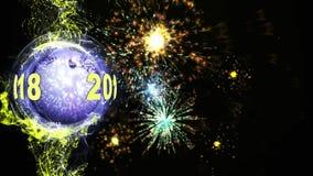 2018 animering för nytt år, tolkning, bakgrund, ögla stock video