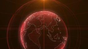 Animering för PIXELplanetjord Animering av utrymme med digital exploderande jord, abstrakt världskartabakgrund rotera vektor illustrationer
