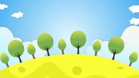 Animering för rörelse för plats för tecknad filmstilmorgon inklusive moln, solresning, fåglar och träd lager videofilmer