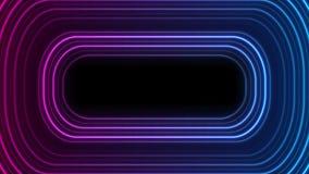 Animering för retro ram för ljust neon glödande video stock illustrationer