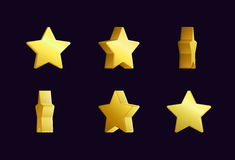 Animering för Sprite arkeffekt av brusande och att rotera för stjärna för snurr en guld- För videopp effekter modig utveckling stock illustrationer