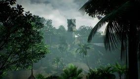Animering för T Rex Tyrannosaur Dinosaur i djungel Realistiskt framför framförande 3d arkivfoton