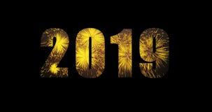 animering 2019 för text för lyckligt nytt år för fyrverkerier för ferie 4K orange stock illustrationer