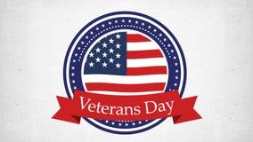 Animering för veterandag med USA flaggan och stjärnor Livlig video 4K royaltyfri illustrationer