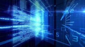 Animering 4K för Digital teknologi för datakod stock illustrationer