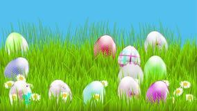 Animering med färgrika easter ägg stock illustrationer