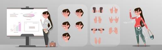 Animeringaffärskvinnateckenet poserar, gester och framsidor vektor illustrationer