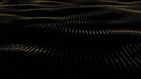 Animeringbakgrund av partiklar på yttersida med vågor Kretsad sömlös animering av guld- yttersida för perspektiv vektor illustrationer