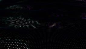 Animeringbakgrund av partiklar på yttersida med vågor Kretsad sömlös animering av perspektivet som glimmar yttersida vektor illustrationer