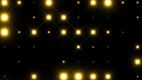 Animeringdiskopanel med lampor som blinkar gula ljus på svart bakgrund stock illustrationer