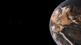 Animeringen av en roterande jord och solen stiger över jorden från yttre rymd stock illustrationer