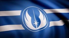 Animeringen av flaggan av det Jedi beställningssymbolet Temat för stjärnakrig Bruk för ledare endast stock illustrationer