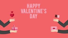 Animeringen av handen kommer med gåvan, choklad, kuvertet och hjärta för lycklig valentindag stock video