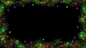 Animeringen av julfärgljus med granen (gran) förgrena sig på svart bakgrund royaltyfri illustrationer