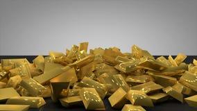 animeringen 3d av högen av guld- guldtacka bommar för att falla ner och traver upp i det finansiella eller rika och förmögna inve stock illustrationer