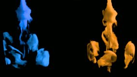 animeringen 3D av kulört röker in i vattnet lager videofilmer