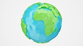 animeringen 3D roterade låg poly jord med den alfabetiska kanalen, jordklotillustration Polygonal jordklot som isoleras på vit ba royaltyfri illustrationer