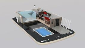 Animeringen 3DCG av det smarta huset särar installation in i en smart telefon royaltyfri illustrationer