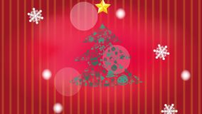 Animeringillustrationen av julgranprydnadsymbolen med stjärna- och vitvinter snöar snöflingor som faller, och guld- handskrift D vektor illustrationer