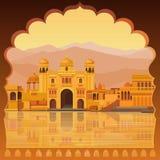 Animeringlandskap: den forntida indiska staden: tempel slottar, boningar, flodbank royaltyfri illustrationer