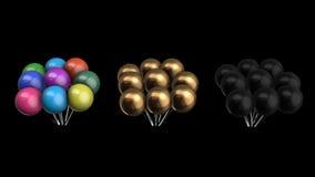 Animeringpacke av ballonger med den alfabetiska kanalen stock illustrationer