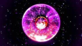Animeringplasmabollen som går varm och, exploderar i bigbang, eller supernovan förstör alla stjärnor med glänsande ljus i yttre r royaltyfri illustrationer