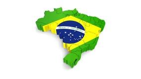 Animeringrotation av symbolet av den Brasilien översikten på en vit Det finns en alfabetisk kanal för compositing vektor illustrationer
