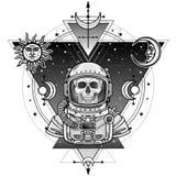 Animeringstående av astronautskelettet i en utrymmedräkt Bakgrund - stjärnahimlen, symboler av månen och sol stock illustrationer