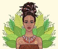 Animeringstående av den härliga svarta kvinnan, krans av tropiska sidor vektor illustrationer