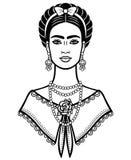 Animeringstående av den unga härliga mexikanska kvinnan med en traditionell frisyr royaltyfri illustrationer