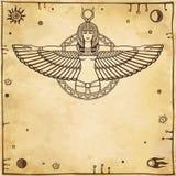 Animeringståenden av den forntida egyptiern påskyndade gudinnan Utrymmesymboler royaltyfri illustrationer