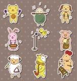 Animla play music stickers. Cartoon vector illustration Royalty Free Stock Photos