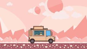 Animowana jedzenie ciężarówki jazda przez obcej planety pustyni Poruszający pojazd na extraterrestrial krajobrazu tle mieszkanie ilustracji